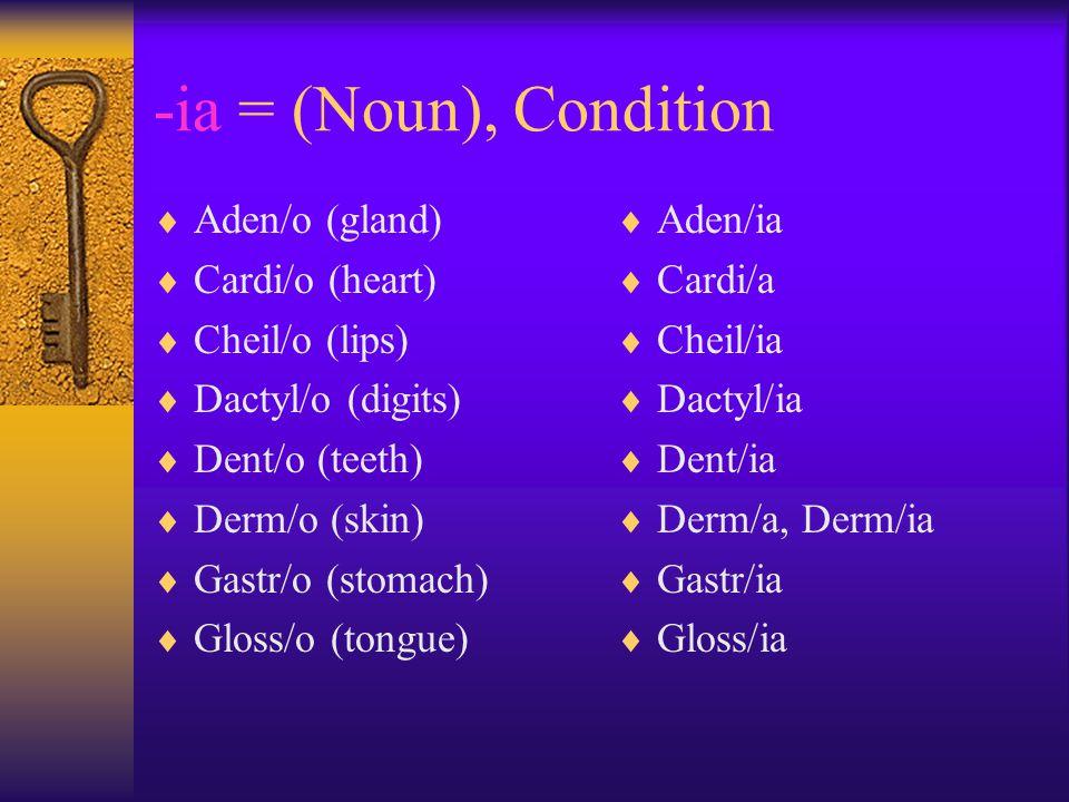-ia = (Noun), Condition  Aden/o (gland)  Cardi/o (heart)  Cheil/o (lips)  Dactyl/o (digits)  Dent/o (teeth)  Derm/o (skin)  Gastr/o (stomach)  Gloss/o (tongue)  Aden/ia  Cardi/a  Cheil/ia  Dactyl/ia  Dent/ia  Derm/a, Derm/ia  Gastr/ia  Gloss/ia