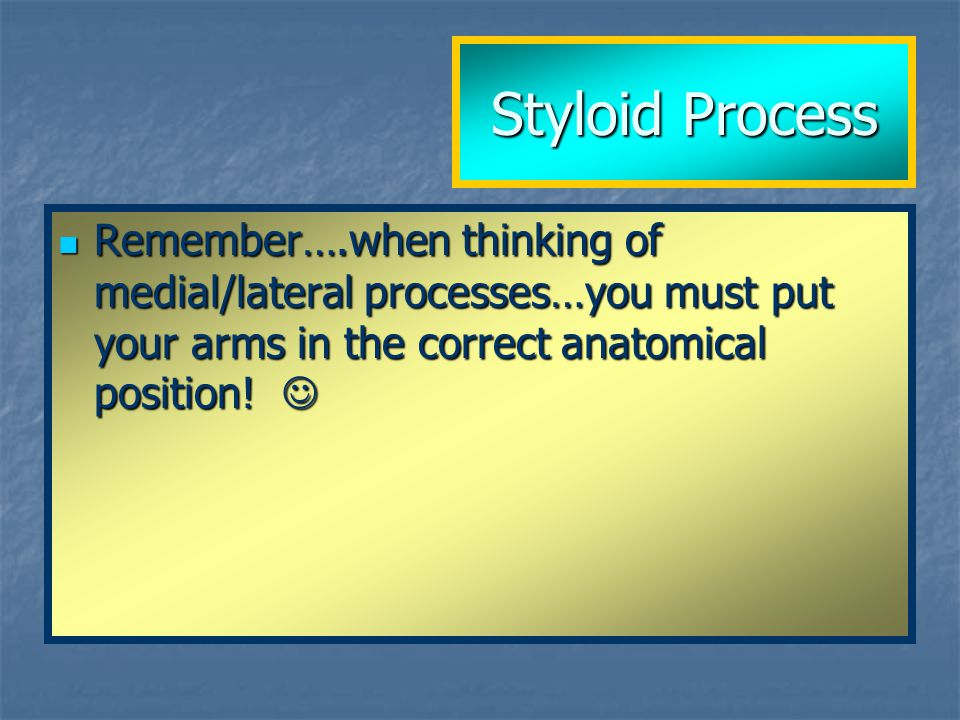 Remember….when thinking of medial/lateral processes…you must put your arms in the correct anatomical position! Remember….when thinking of medial/later