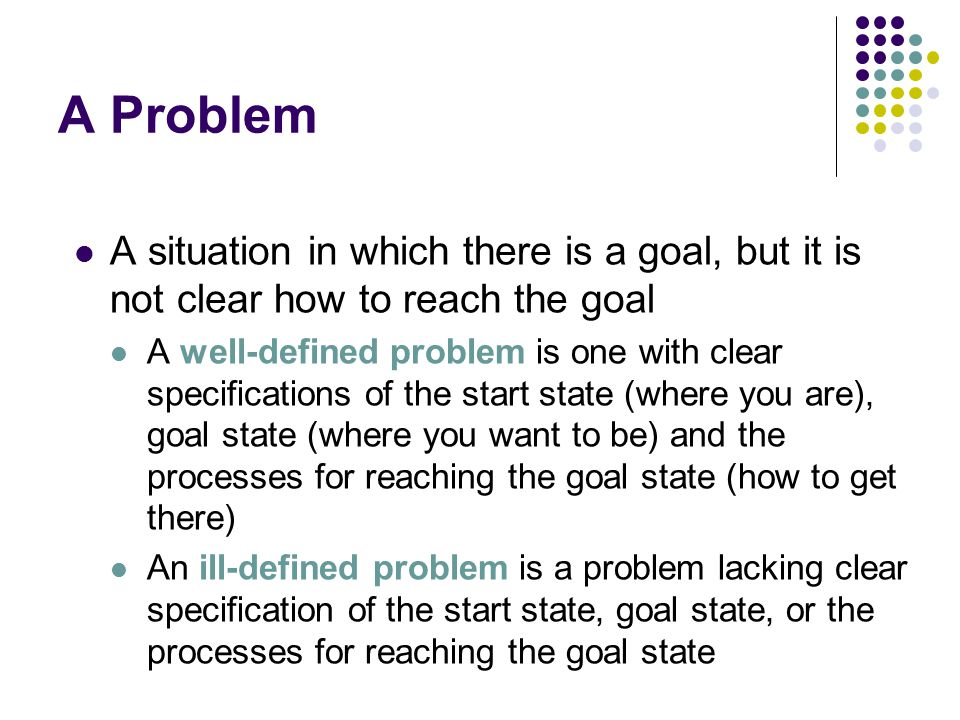 A Problem A situation in which there is a goal, but it is not clear how to reach the goal A well-defined problem is one with clear specifications of the start state (where you are), goal state (where you want to be) and the processes for reaching the goal state (how to get there) An ill-defined problem is a problem lacking clear specification of the start state, goal state, or the processes for reaching the goal state