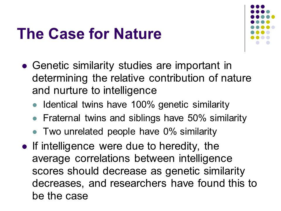The Case for Nature Genetic similarity studies are important in determining the relative contribution of nature and nurture to intelligence Identical twins have 100% genetic similarity Fraternal twins and siblings have 50% similarity Two unrelated people have 0% similarity If intelligence were due to heredity, the average correlations between intelligence scores should decrease as genetic similarity decreases, and researchers have found this to be the case