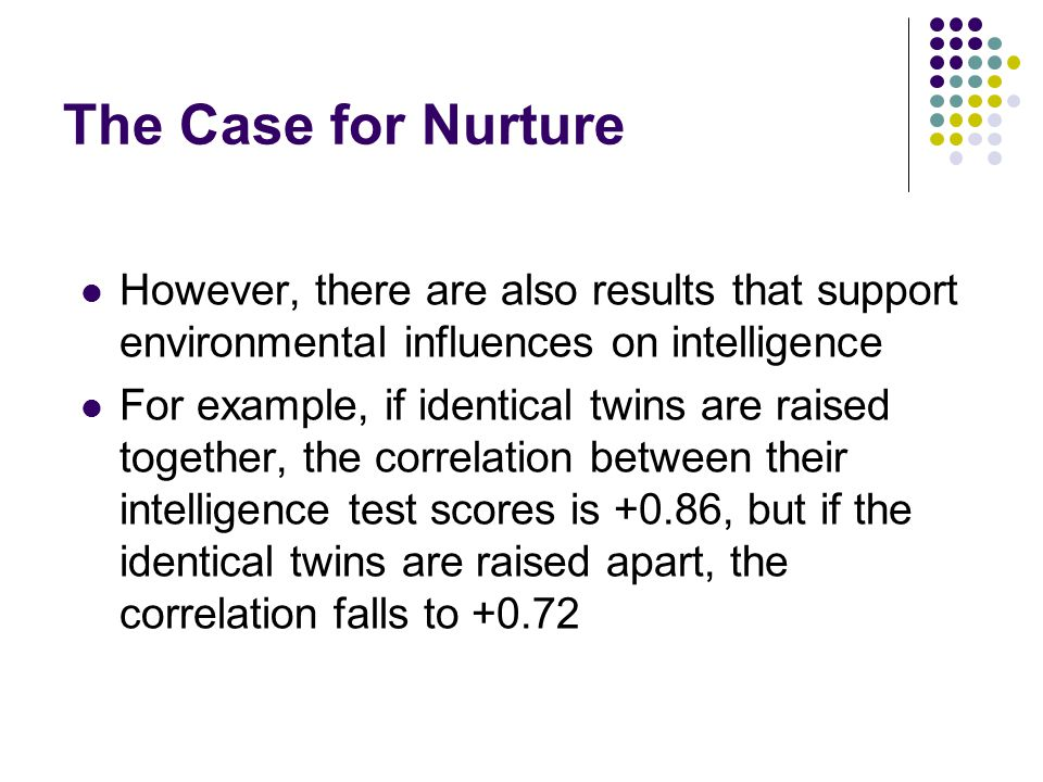 The Case for Nurture However, there are also results that support environmental influences on intelligence For example, if identical twins are raised together, the correlation between their intelligence test scores is +0.86, but if the identical twins are raised apart, the correlation falls to +0.72