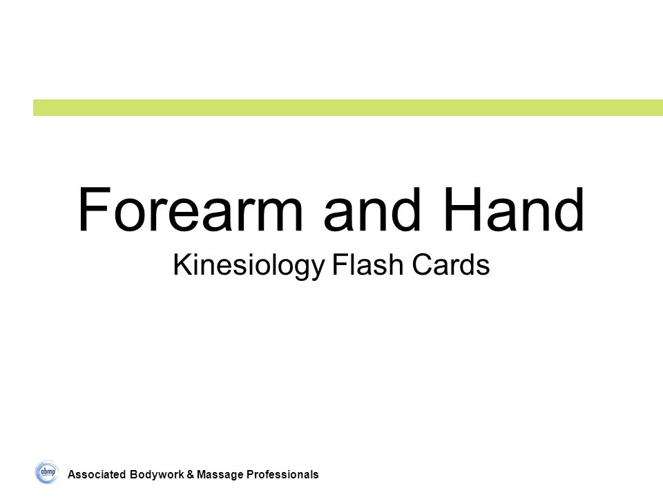 Associated Bodywork & Massage Professionals Forearm and Hand Kinesiology Flash Cards
