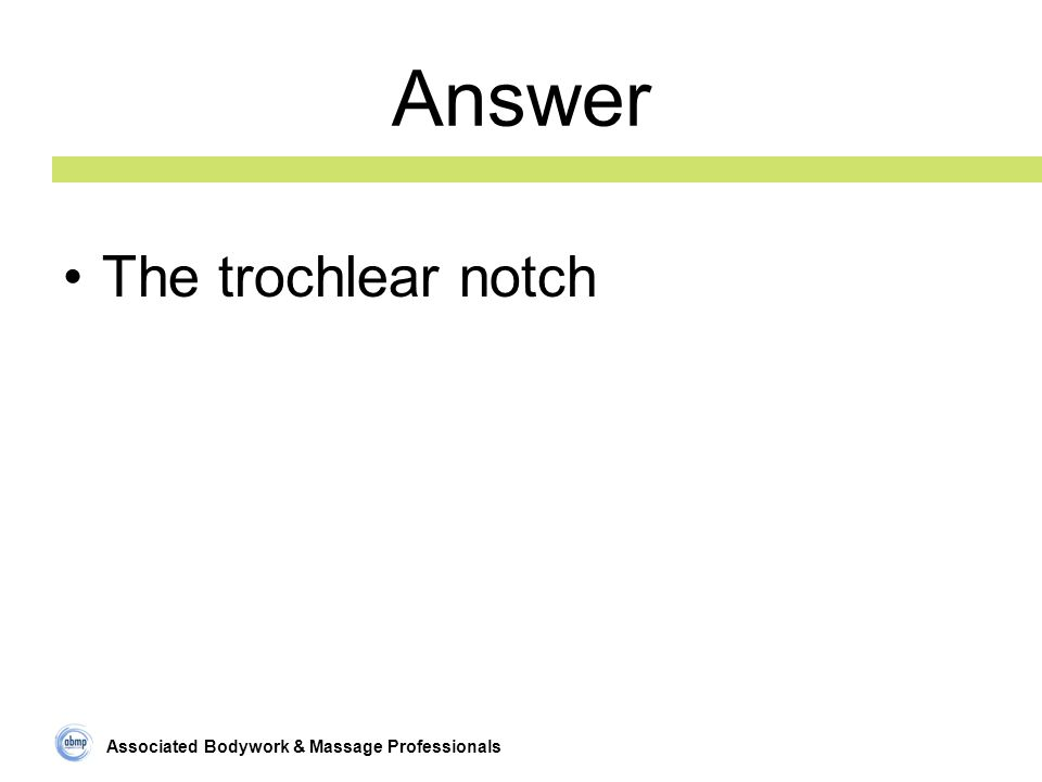 Associated Bodywork & Massage Professionals Answer The trochlear notch