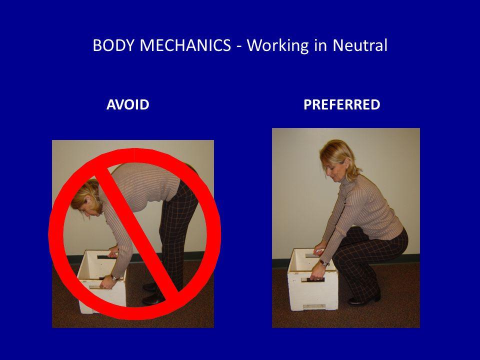 BODY MECHANICS - Working in Neutral AVOIDPREFERRED
