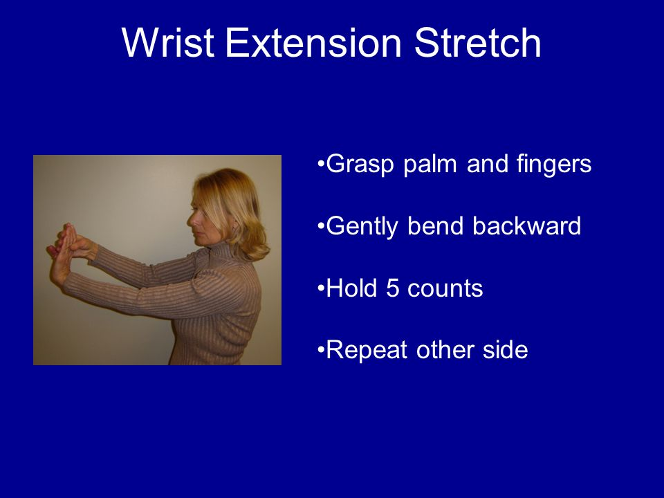 Wrist Extension Stretch Grasp palm and fingers Gently bend backward Hold 5 counts Repeat other side