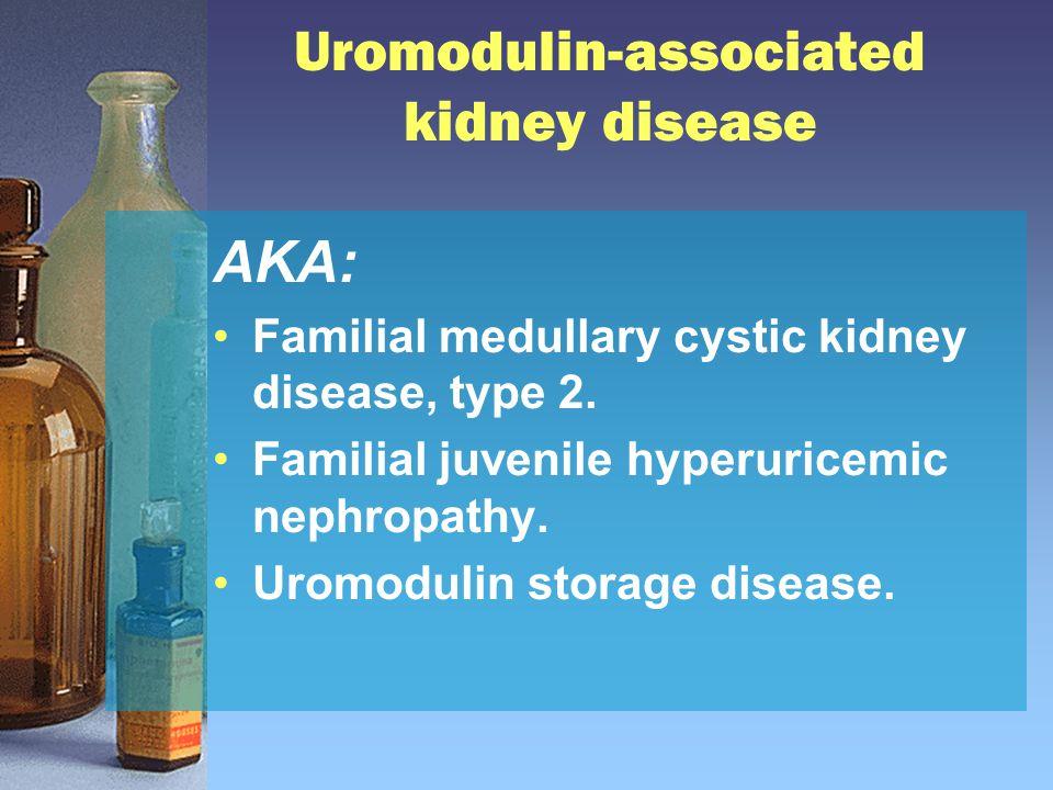 Uromodulin-associated kidney disease AKA: Familial medullary cystic kidney disease, type 2. Familial juvenile hyperuricemic nephropathy. Uromodulin st