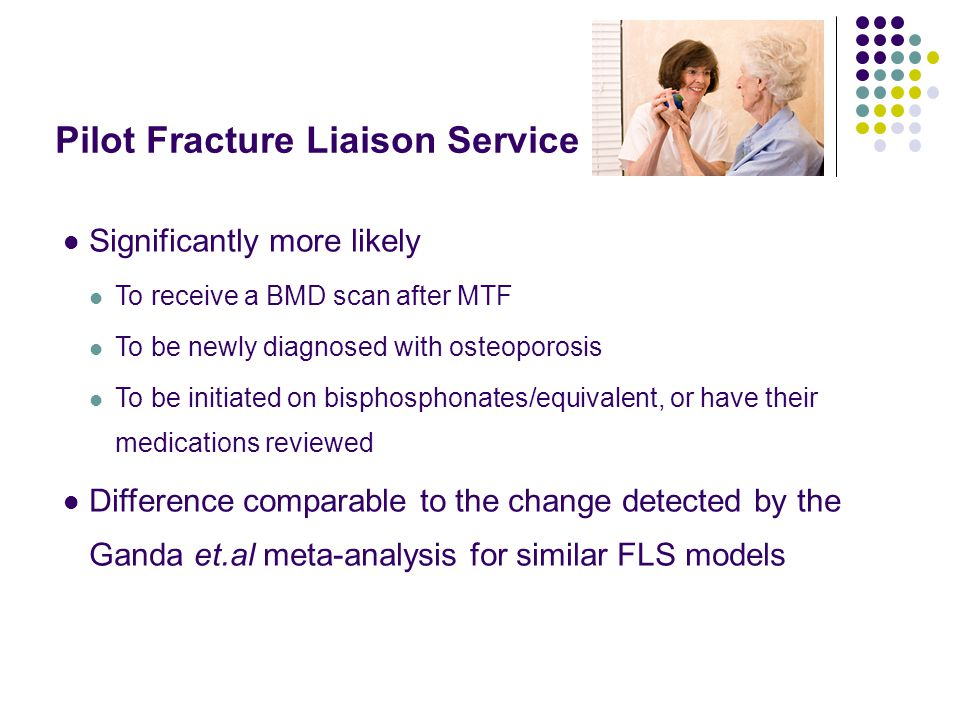 Pilot Fracture Liaison Service Significantly more likely To receive a BMD scan after MTF To be newly diagnosed with osteoporosis To be initiated on bisphosphonates/equivalent, or have their medications reviewed Difference comparable to the change detected by the Ganda et.al meta-analysis for similar FLS models