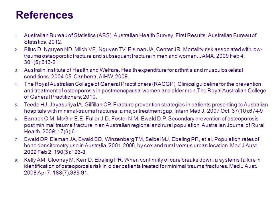 References 1. Australian Bureau of Statistics (ABS).