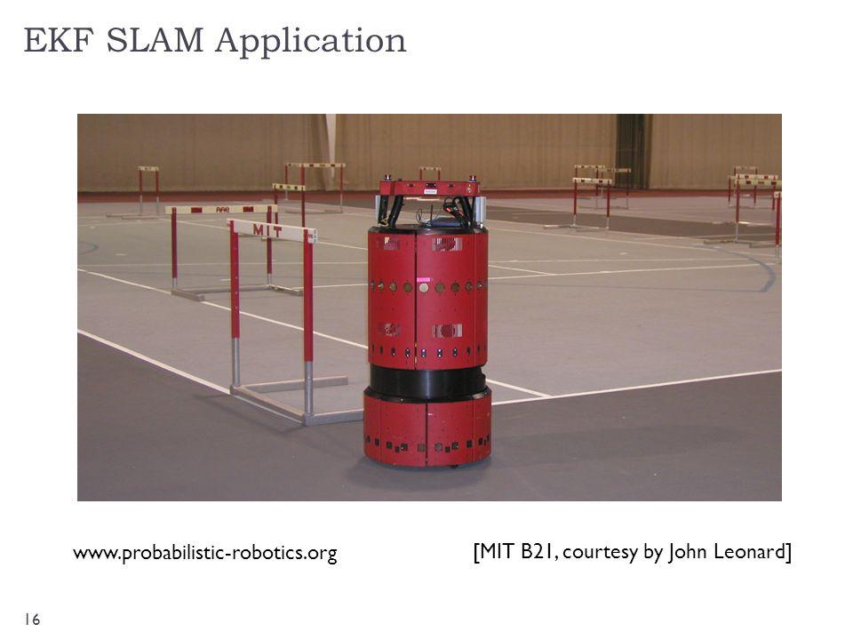EKF SLAM Application 16 [MIT B21, courtesy by John Leonard] www.probabilistic-robotics.org