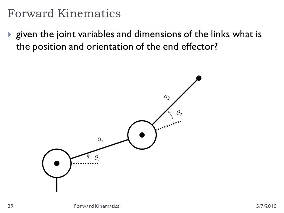 Forward Kinematics 5/7/201529  given the joint variables and dimensions of the links what is the position and orientation of the end effector? Forwar