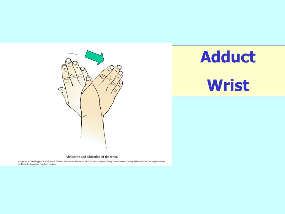 Adduct at your wrist.