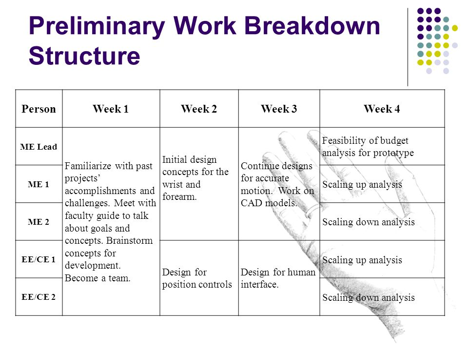Preliminary Work Breakdown Structure PersonWeek 1Week 2Week 3Week 4 ME Lead Familiarize with past projects' accomplishments and challenges. Meet with