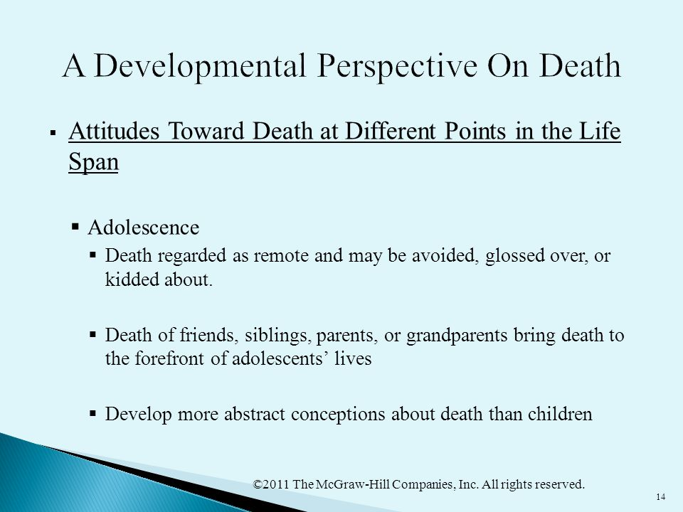 ©2011 The McGraw-Hill Companies, Inc. All rights reserved. 14  Attitudes Toward Death at Different Points in the Life Span  Adolescence  Death rega