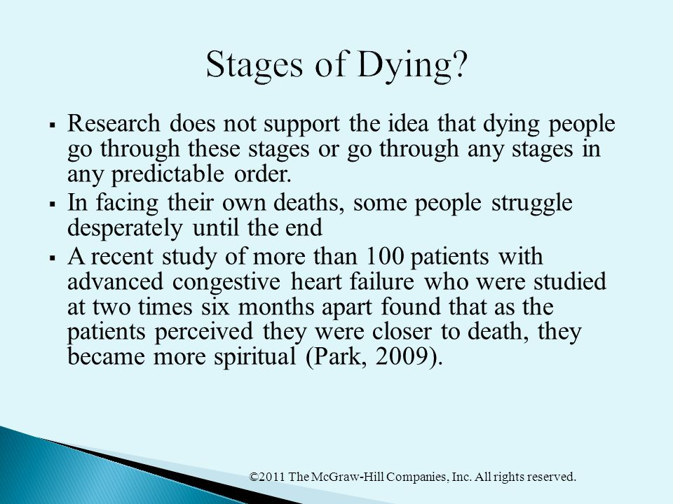 ©2011 The McGraw-Hill Companies, Inc. All rights reserved.  Research does not support the idea that dying people go through these stages or go throug