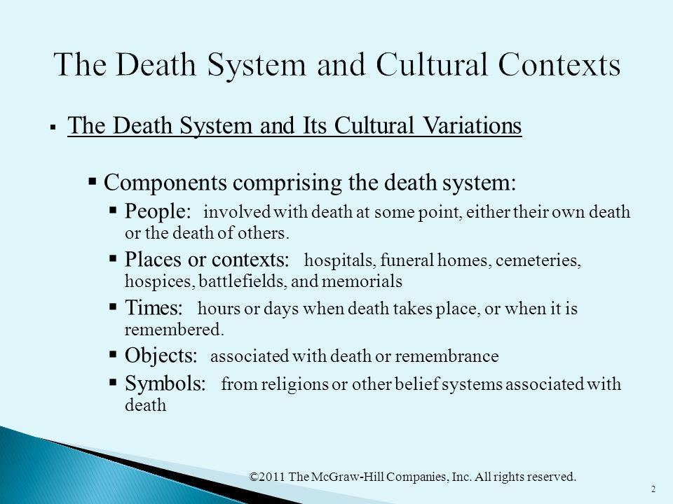 ©2011 The McGraw-Hill Companies, Inc. All rights reserved. 2  The Death System and Its Cultural Variations  Components comprising the death system: