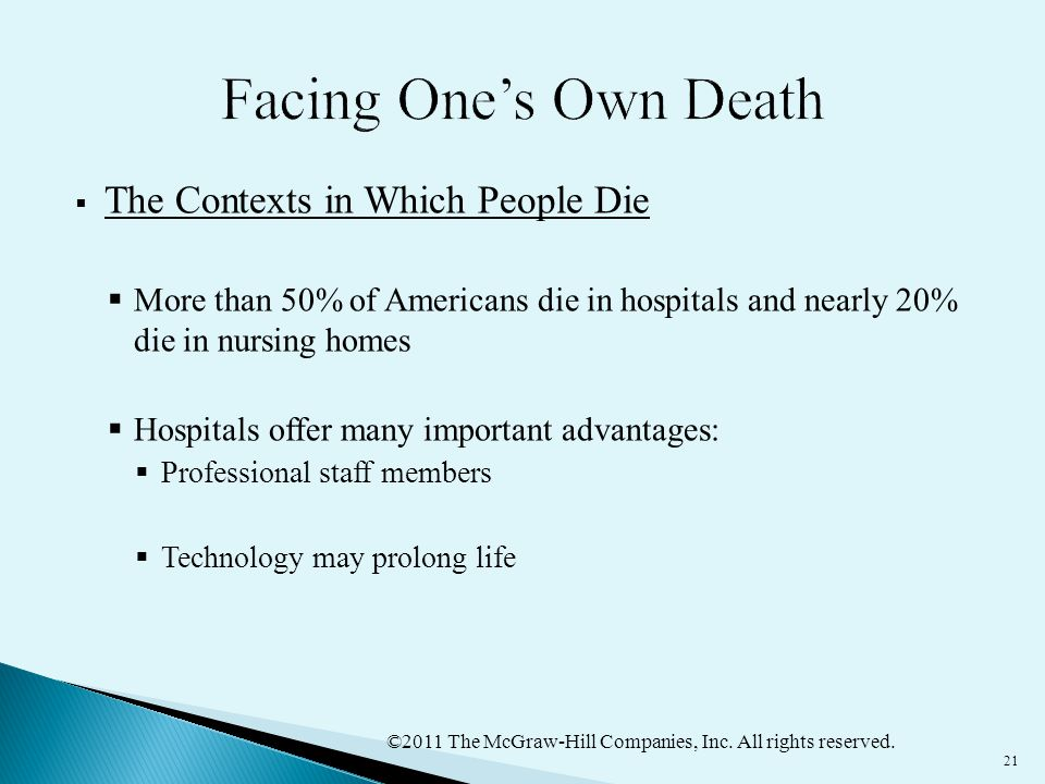 ©2011 The McGraw-Hill Companies, Inc. All rights reserved. 21  The Contexts in Which People Die  More than 50% of Americans die in hospitals and nea