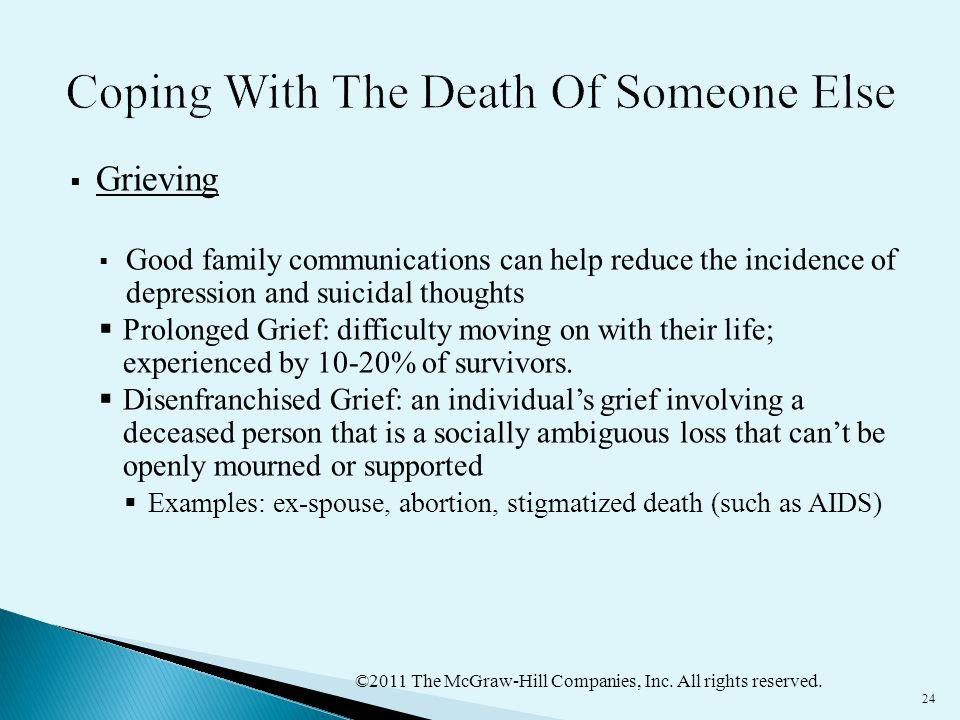 ©2011 The McGraw-Hill Companies, Inc. All rights reserved. 24  Grieving  Good family communications can help reduce the incidence of depression and