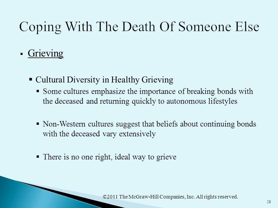 ©2011 The McGraw-Hill Companies, Inc. All rights reserved. 28  Grieving  Cultural Diversity in Healthy Grieving  Some cultures emphasize the import