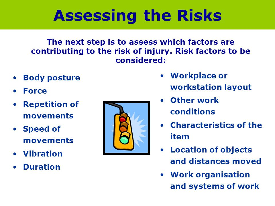 Assessing the Risks Body posture Force Repetition of movements Speed of movements Vibration Duration Workplace or workstation layout Other work condit