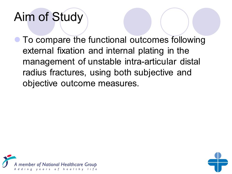 Aim of Study To compare the functional outcomes following external fixation and internal plating in the management of unstable intra-articular distal radius fractures, using both subjective and objective outcome measures.