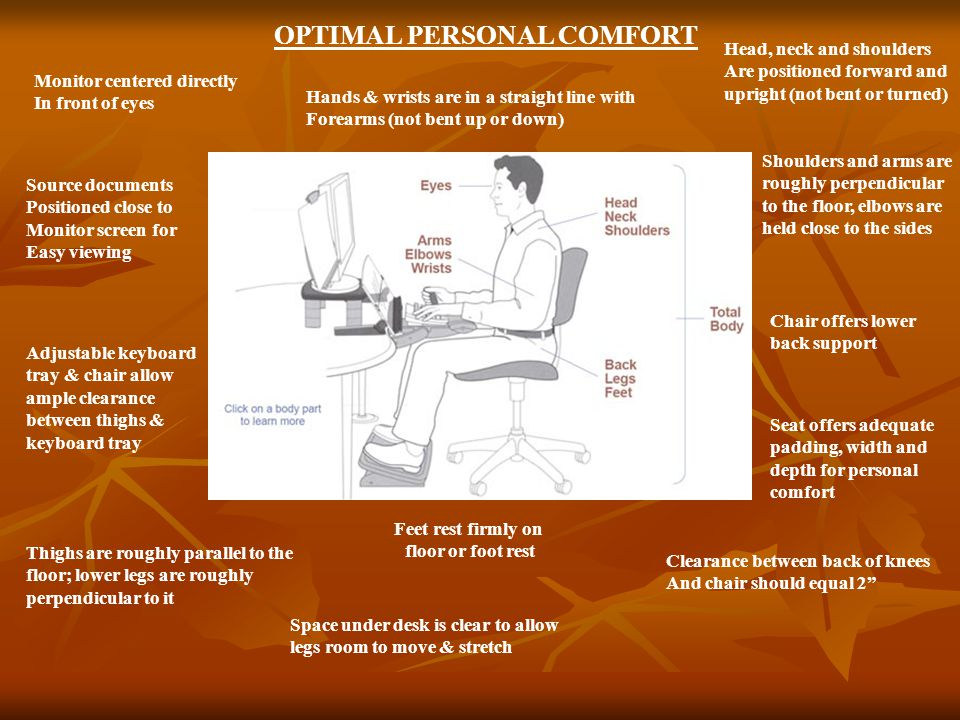 Tips for Ergonomic Safety Get a good nights sleep.