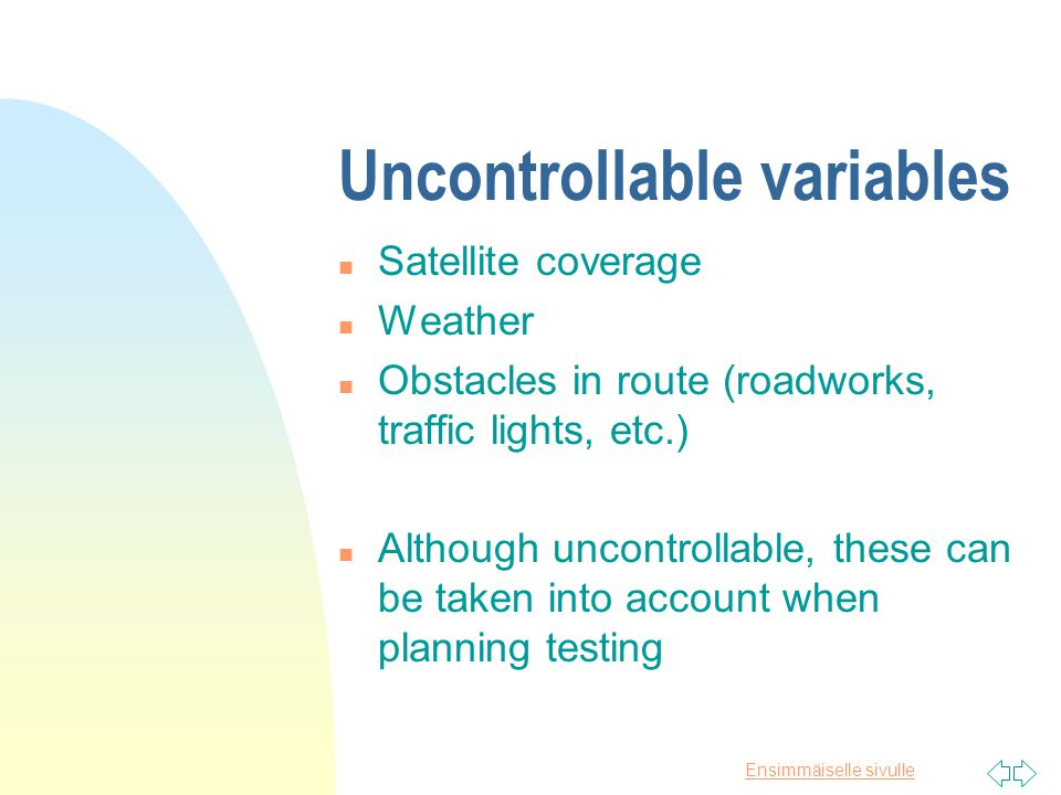 Ensimmäiselle sivulle Controllable variables n Devices n Route n Device position n Location refresh rate (8s.