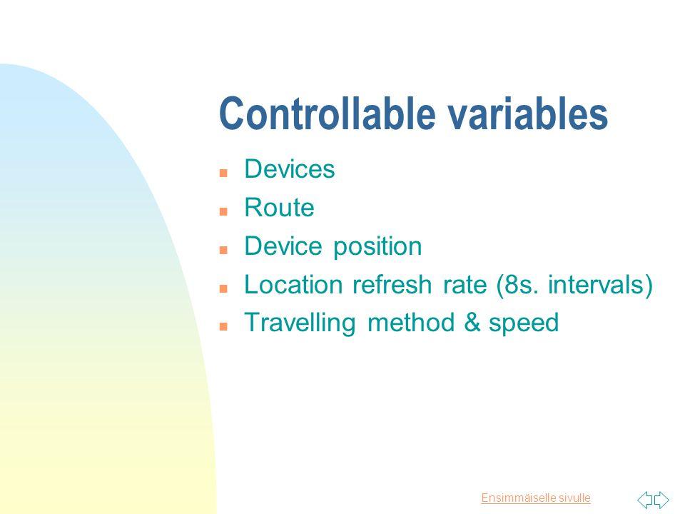 Ensimmäiselle sivulle Test setting n 8 tested devices u 5 mobile phones using internal receiver u 2 external Bluetooth receivers u 1 wrist GPS n Clear weather