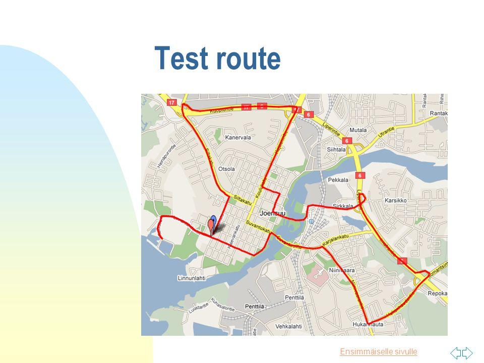 Ensimmäiselle sivulle Test route