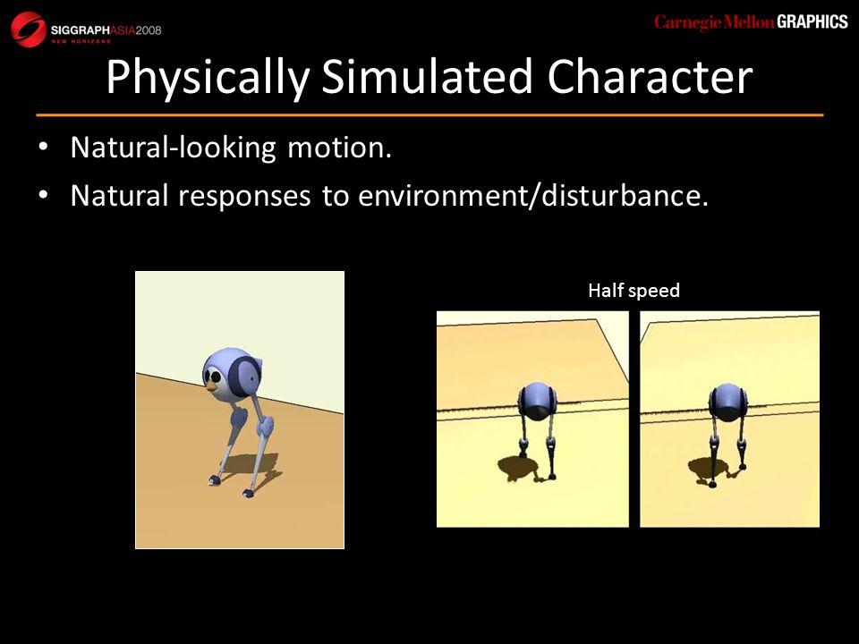Natural-looking motion.Natural responses to environment/disturbance.