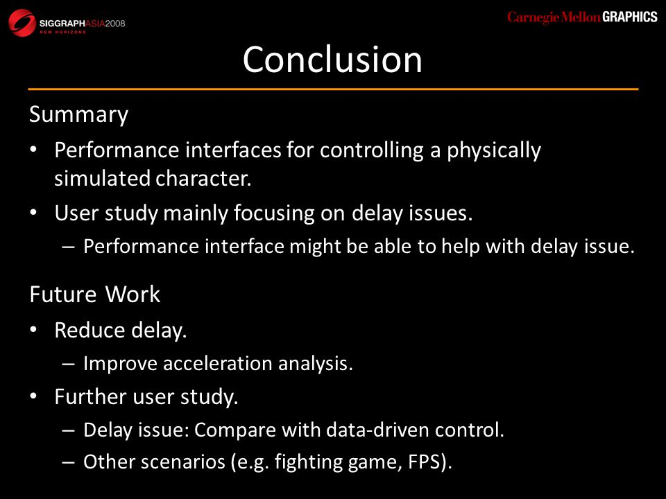 Conclusion Summary Performance interfaces for controlling a physically simulated character.