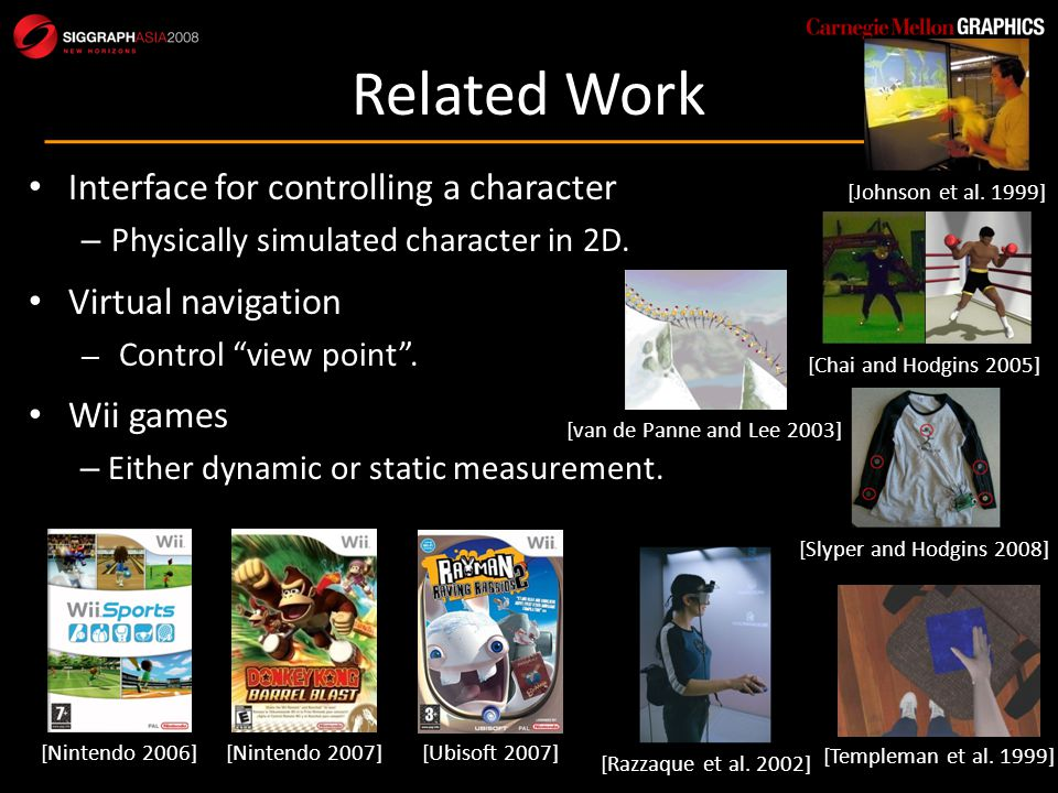 Overview 2-3 Wiimotes Physically simulated motion Mapping Controller selection Parameter change Acceleration Analysis Amp., Mean, Inclination Moving or not, Freq., Phase Motion controller (walk, run, jump, step) Physical Simulation