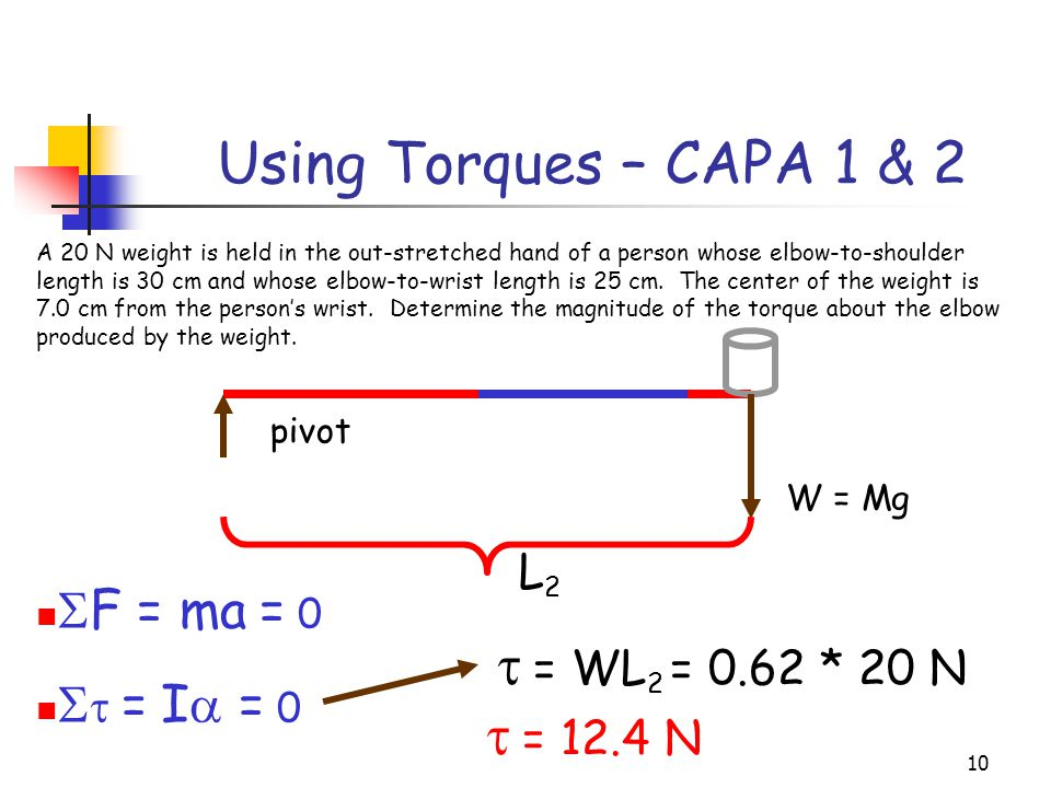 9 Using Torques – CAPA 1 & 2 A 20 N weight is held in the out-stretched hand of a person whose elbow-to-shoulder length is 30 cm and whose elbow-to-wrist length is 25 cm.