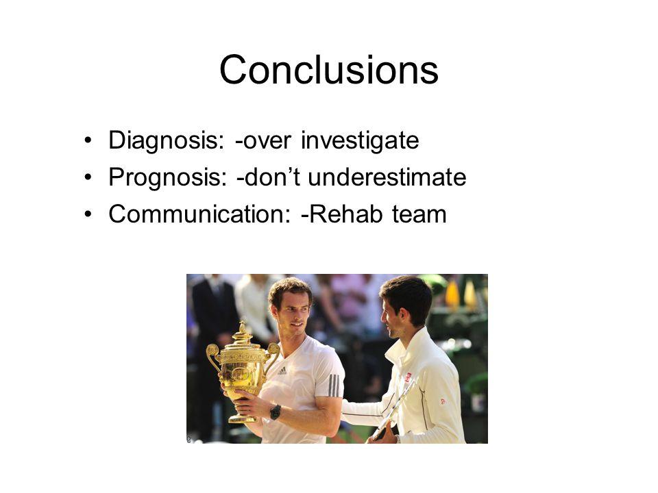 Conclusions Diagnosis: -over investigate Prognosis: -don't underestimate Communication: -Rehab team