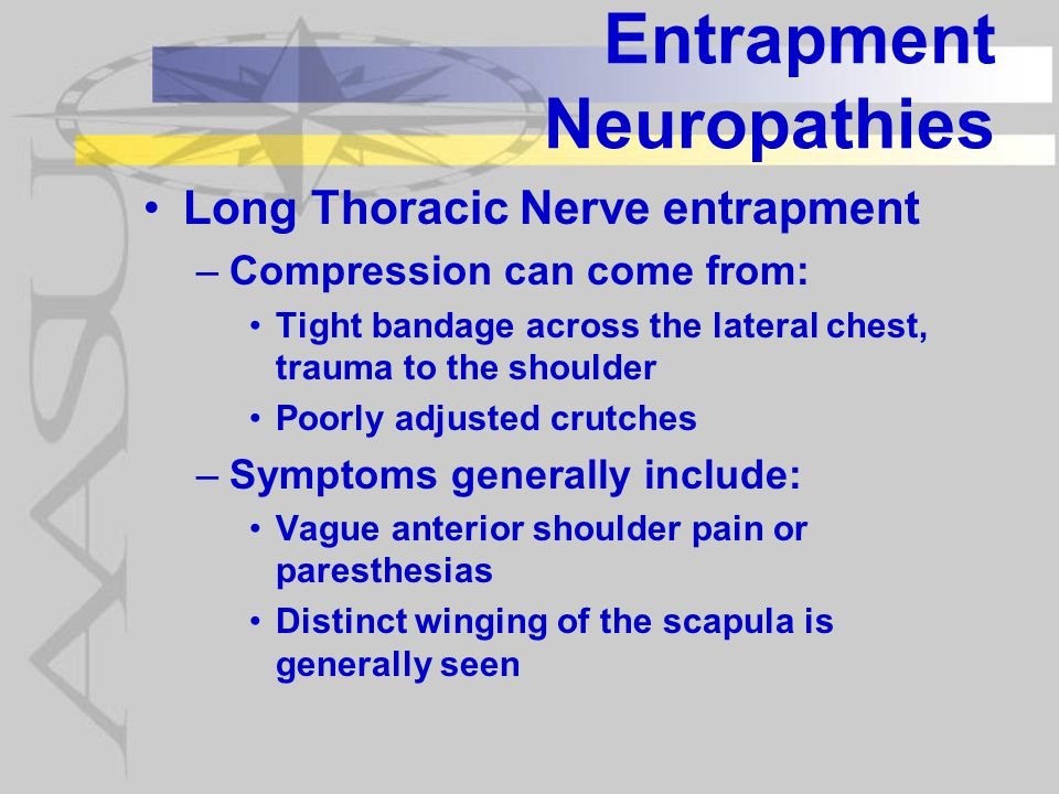 Entrapment Neuropathies Long Thoracic Nerve entrapment –Compression can come from: Tight bandage across the lateral chest, trauma to the shoulder Poorly adjusted crutches –Symptoms generally include: Vague anterior shoulder pain or paresthesias Distinct winging of the scapula is generally seen