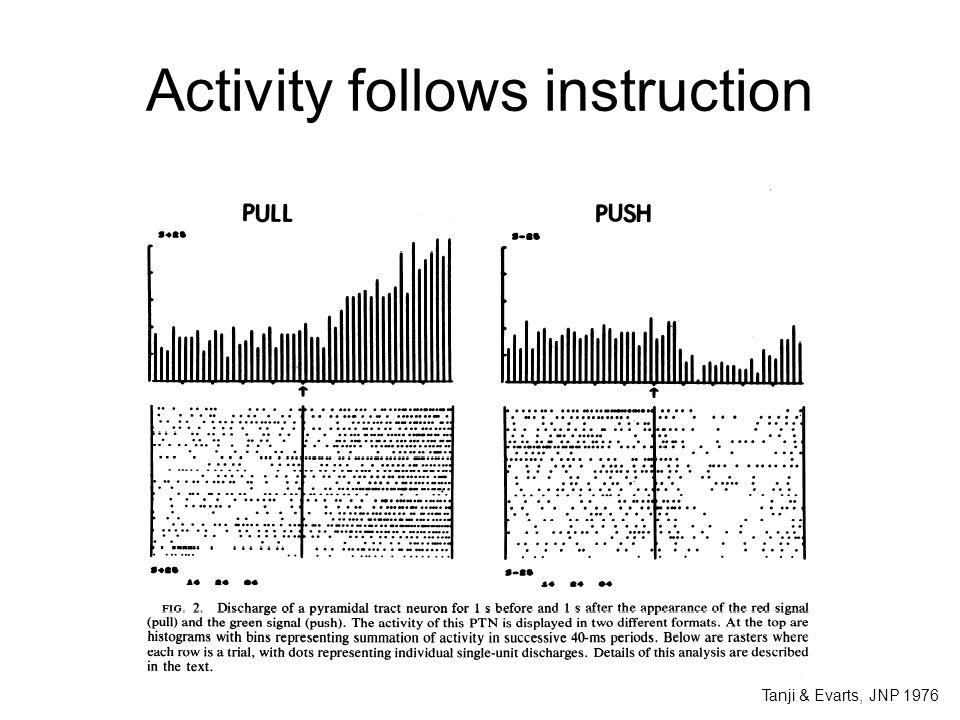 Activity follows instruction Tanji & Evarts, JNP 1976
