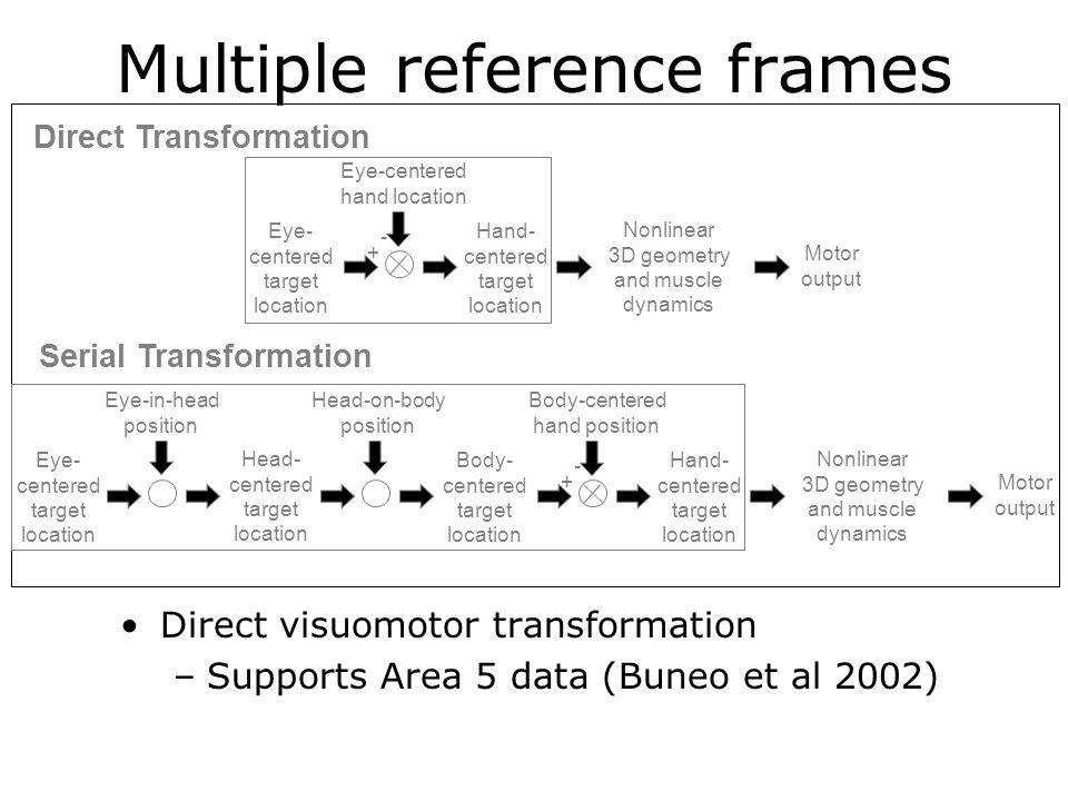 Multiple reference frames Direct visuomotor transformation –Supports Area 5 data (Buneo et al 2002) Direct Transformation Serial Transformation Head-o