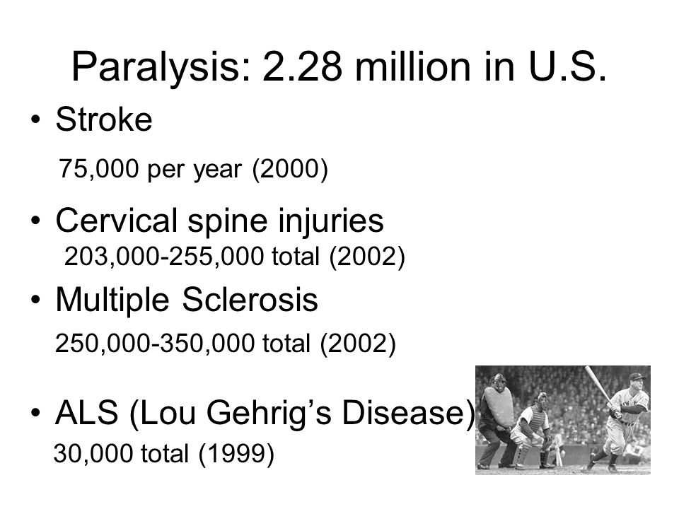 Paralysis: 2.28 million in U.S. Stroke 75,000 per year (2000) Cervical spine injuries 203,000-255,000 total (2002) Multiple Sclerosis 250,000-350,000