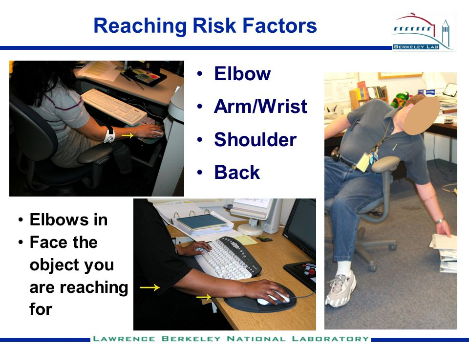 Reaching Risk Factors Elbow Arm/Wrist Shoulder Back Elbows in Face the object you are reaching for