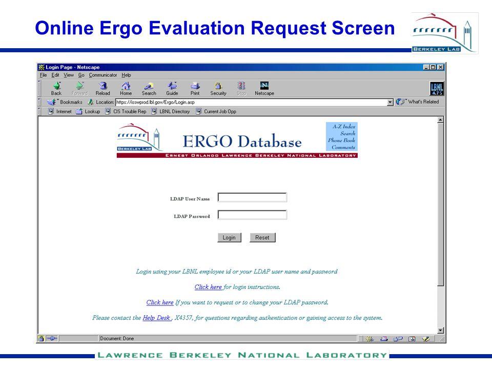 Online Ergo Evaluation Request Screen