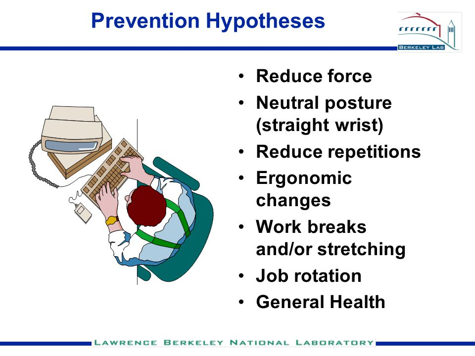 Prevention Hypotheses Reduce force Neutral posture (straight wrist) Reduce repetitions Ergonomic changes Work breaks and/or stretching Job rotation General Health