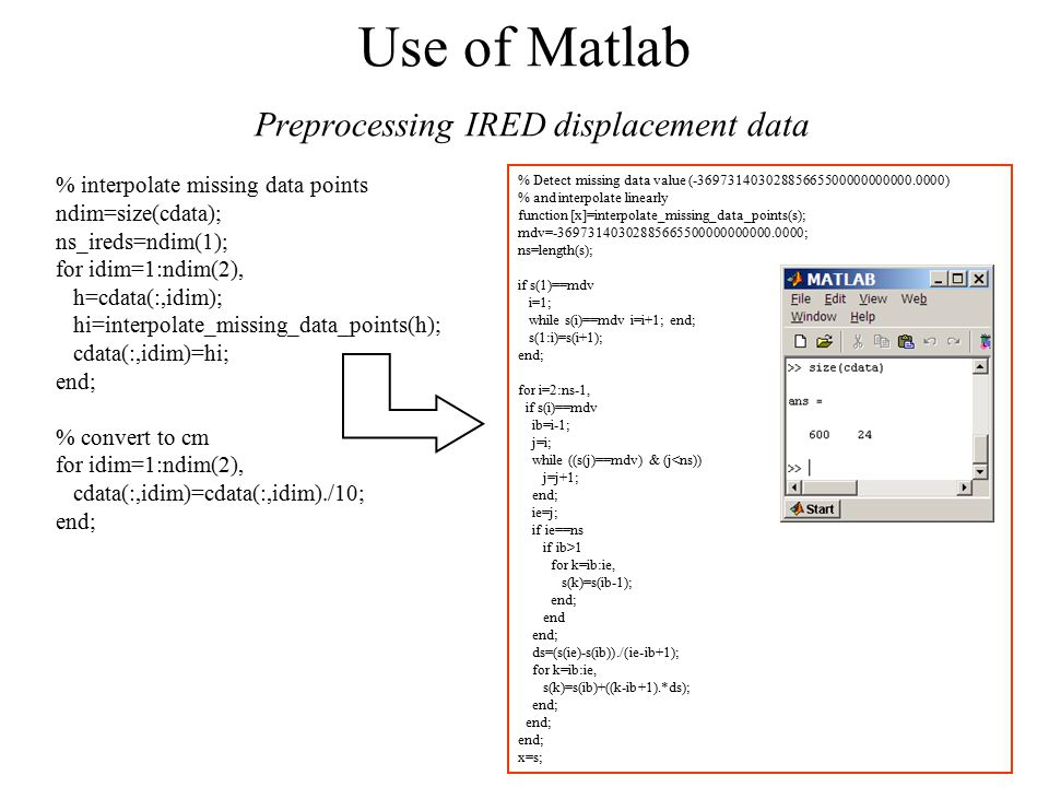 Use of Matlab Preprocessing IRED displacement data % interpolate missing data points ndim=size(cdata); ns_ireds=ndim(1); for idim=1:ndim(2), h=cdata(:,idim); hi=interpolate_missing_data_points(h); cdata(:,idim)=hi; end; % convert to cm for idim=1:ndim(2), cdata(:,idim)=cdata(:,idim)./10; end; % Detect missing data value (-36973140302885665500000000000.0000) % and interpolate linearly function [x]=interpolate_missing_data_points(s); mdv=-36973140302885665500000000000.0000; ns=length(s); if s(1)==mdv i=1; while s(i)==mdv i=i+1; end; s(1:i)=s(i+1); end; for i=2:ns-1, if s(i)==mdv ib=i-1; j=i; while ((s(j)==mdv) & (j<ns)) j=j+1; end; ie=j; if ie==ns if ib>1 for k=ib:ie, s(k)=s(ib-1); end; end end; ds=(s(ie)-s(ib))./(ie-ib+1); for k=ib:ie, s(k)=s(ib)+((k-ib+1).*ds); end; x=s;