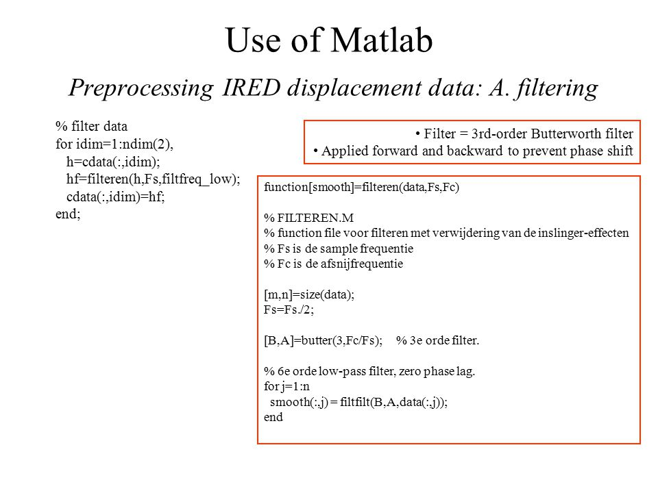 Use of Matlab Preprocessing IRED displacement data: A.