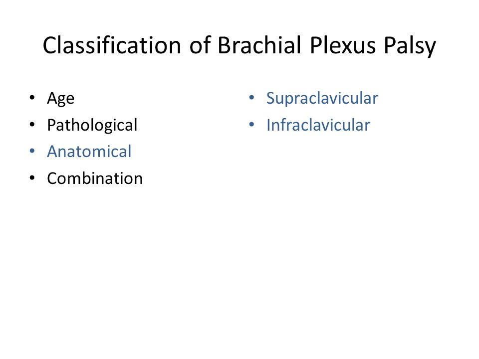 Classification of Brachial Plexus Palsy Age Pathological Anatomical Combination Supraclavicular Infraclavicular