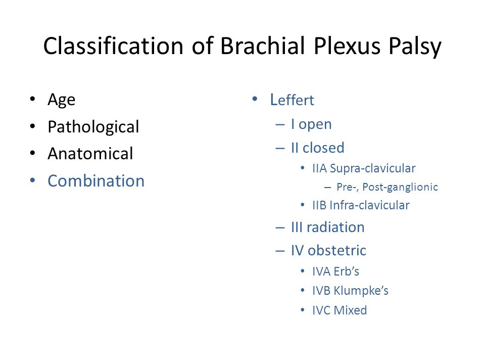 Classification of Brachial Plexus Palsy Age Pathological Anatomical Combination L effert – I open – II closed IIA Supra-clavicular – Pre-, Post-gangli