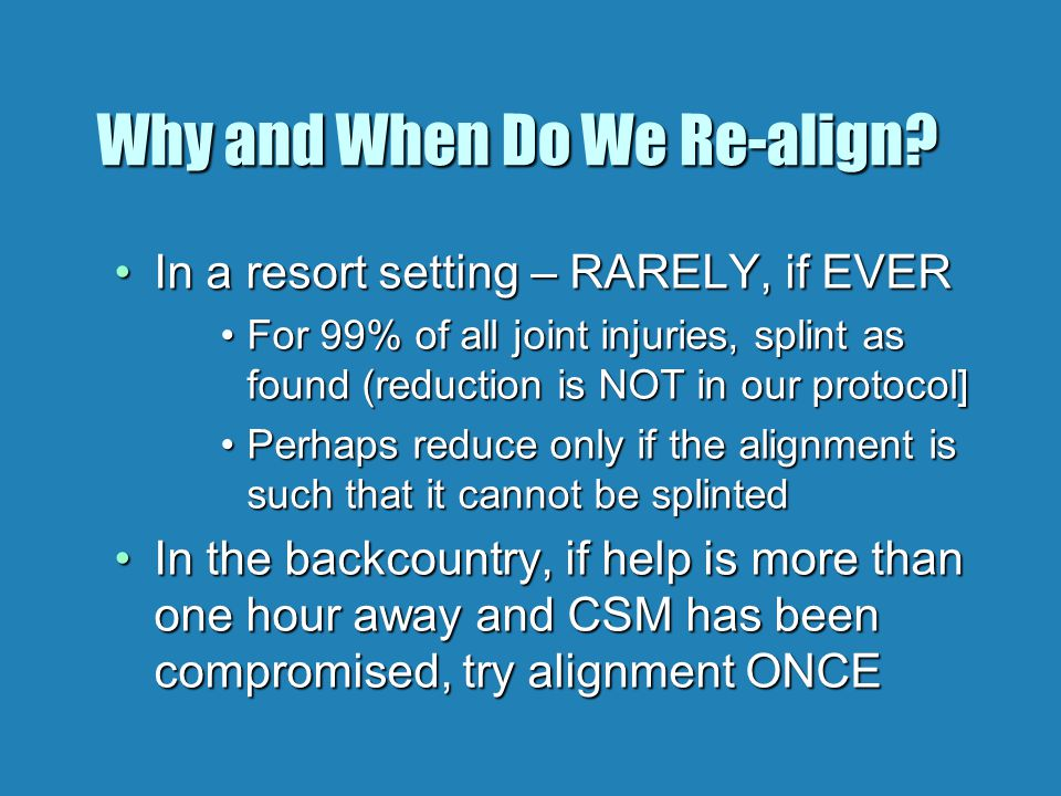 Why and When Do We Re-align.