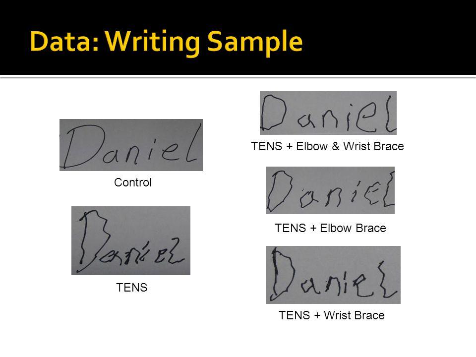 TENS + Elbow Brace TENS Control TENS + Elbow & Wrist Brace TENS + Wrist Brace