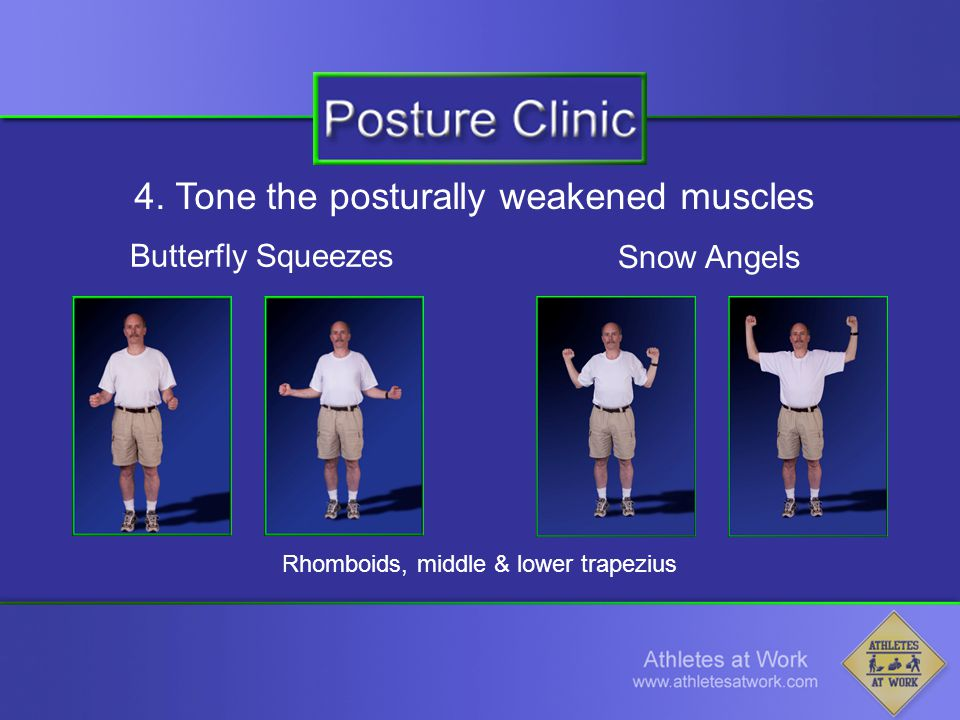 4. Tone the posturally weakened muscles Butterfly Squeezes Rhomboids, middle & lower trapezius Snow Angels