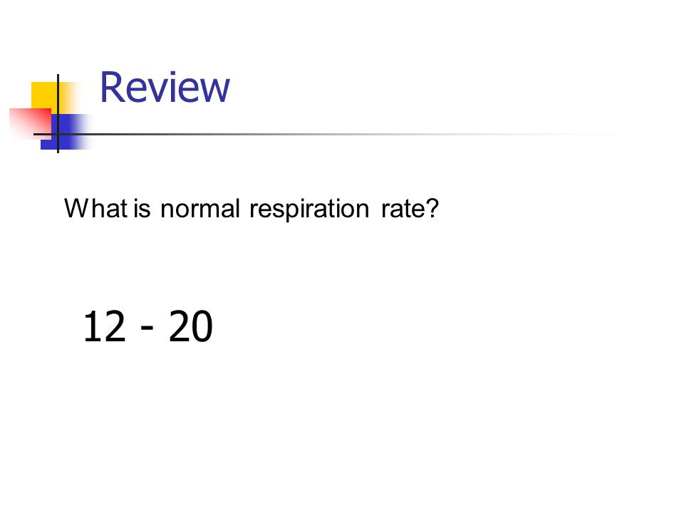 Review What is normal respiration rate? 12 - 20