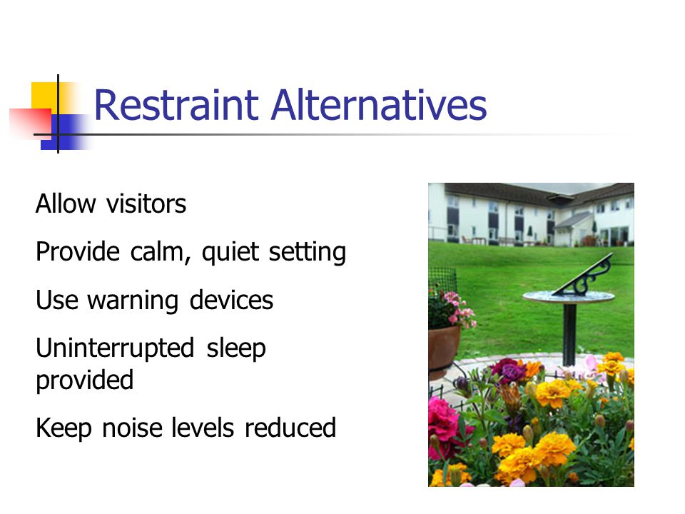 Restraint Alternatives Allow visitors Provide calm, quiet setting Use warning devices Uninterrupted sleep provided Keep noise levels reduced