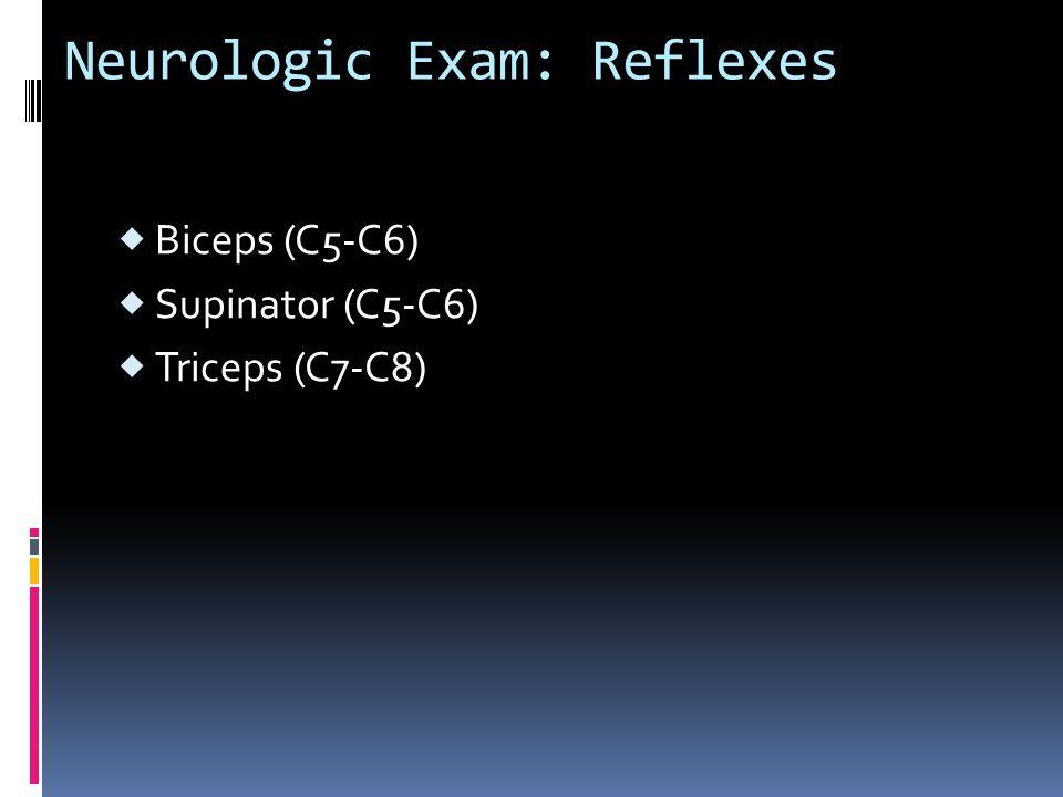 Neurologic Exam: Reflexes  Biceps (C5-C6)  Supinator (C5-C6)  Triceps (C7-C8)